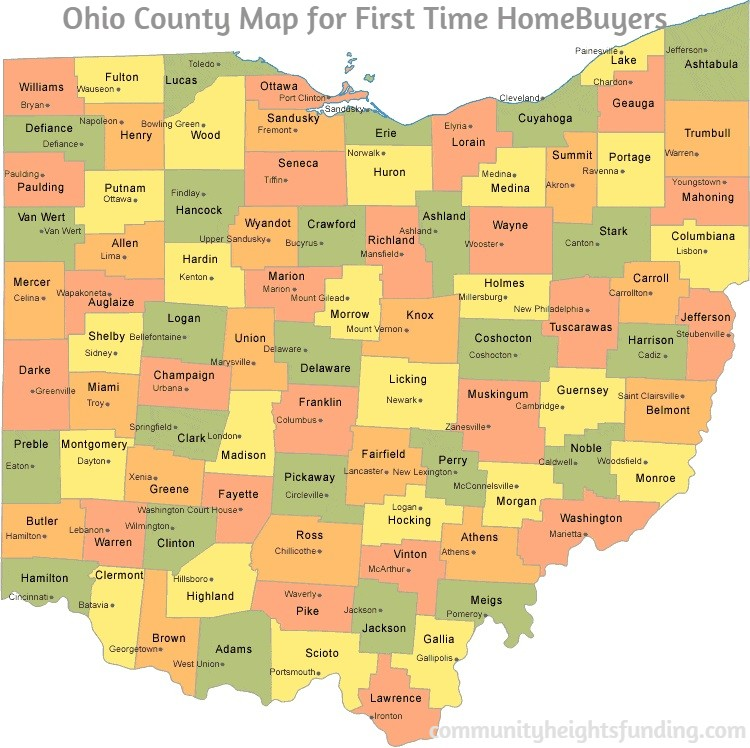 Ohio County Map for First Time HomeBuyers